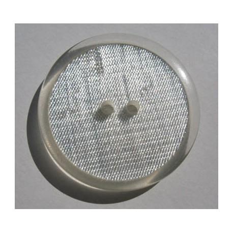 Bouton translucide inclusion tissu métal argent  effet loupe 34 mm  b64