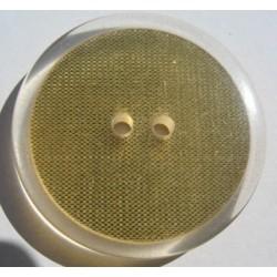 Bouton translucide inclusion tissu metal doré  effet loupe 34 mm  b64