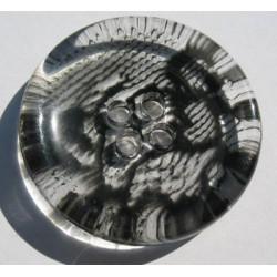 Bouton translucide impression dentelle tulle  noire 34 mm b64