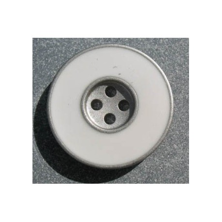 Bouton email blanc argent b38