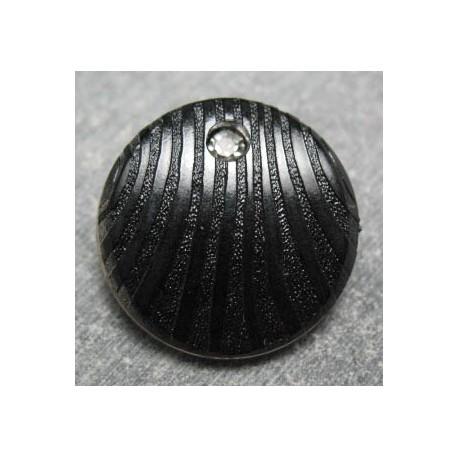 Bouton ligné noir strass b9