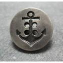 Bouton ancre vieil argent 23 mm b41