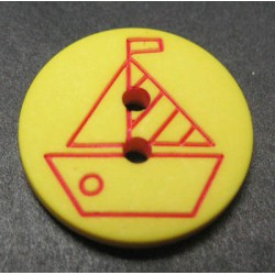 Bouton voilier jaune rouge 15mm