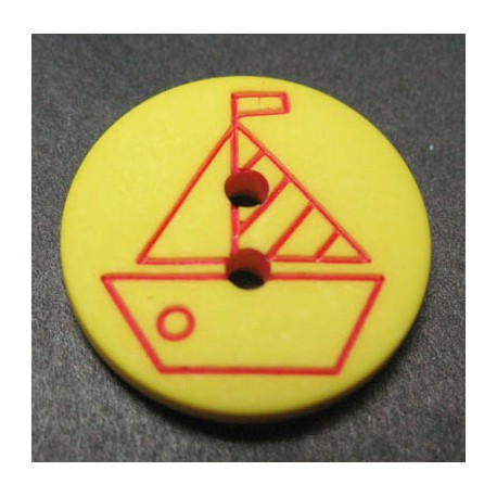 Bouton voilier jaune rouge 15 mm b4
