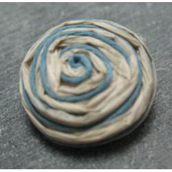 Bouton rafia écru bleu 23 mm b34
