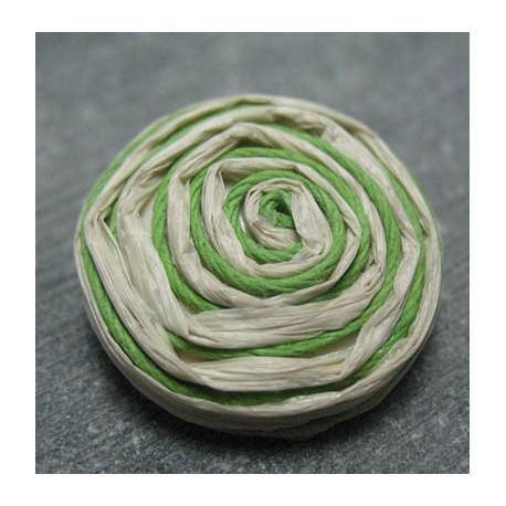 Bouton rafia écru vert 30 mm b34