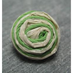 Bouton rafia écru vert 18 mm b34