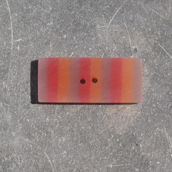 Bouton rectangle berlingot rouge orange 35 mm b37b