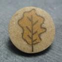 Bouton feuille de chene beige 28 mm b69