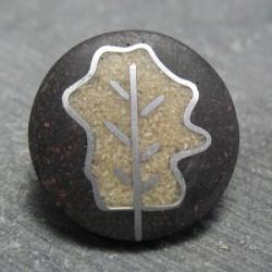Bouton feuille de chene noir 28 mm b69