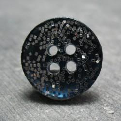 Bouton bleu raf paillette argent 18mm