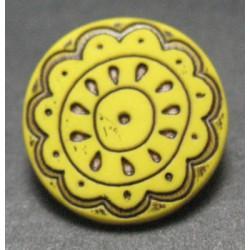 Bouton fleur arabesque jaune 15 mm b59