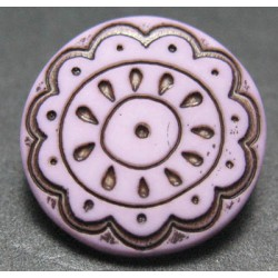 Bouton fleur arabesque vieux rose 15 mm b59