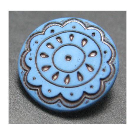 Bouton fleur arabesque bleu 15 mm b59