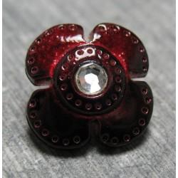 Bouton fleur rubis strass 14  mm b26