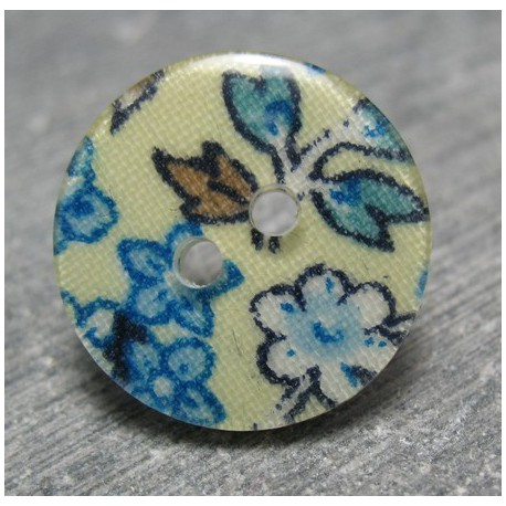 Bouton fleur bleu sublimation 19 mm b26