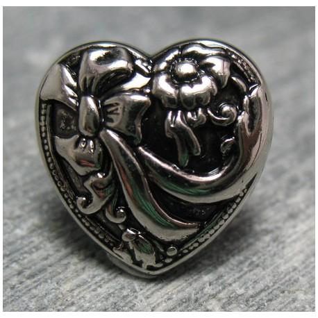 Bouton coeur vieil argent 15 mm b71