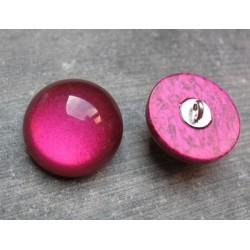 Bouton demi boule fuschia 22 mm b1