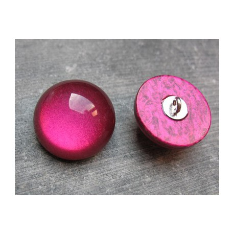 Bouton demi boule fuschia 22 mm