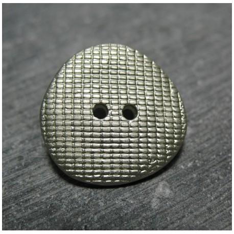Bouton quadrille gris amande 22 mm b37b