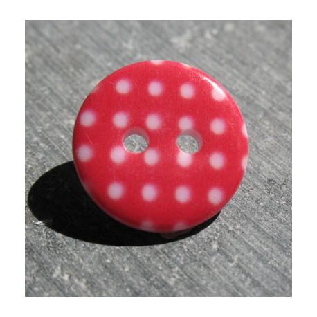 Bouton pois3  rouge blanc 15 mm b70