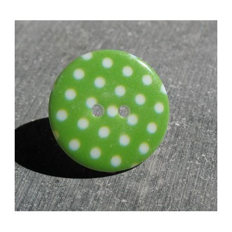 Bouton pois5  vert blanc 15 mm b70
