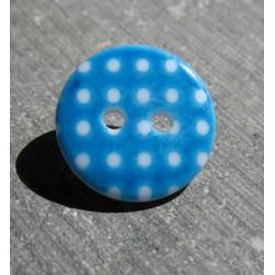 Bouton pois8  bleu blanc 15 mm b70