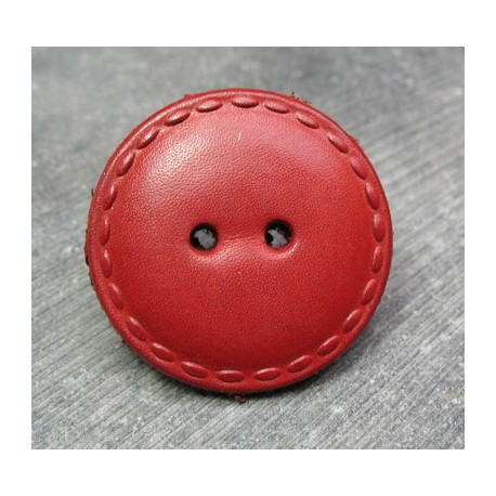 Bouton cuir rouge 36 mm b20b