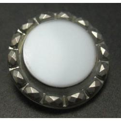 Bouton verre blanc argent 22 mm b16