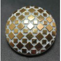 Bouton verre mosaique or blanc 23 mm b16