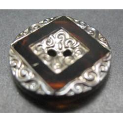 Bouton verre argent + carré 18 mm  b16