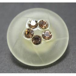Bouton verre dépoli diamant écru 18 mm b16