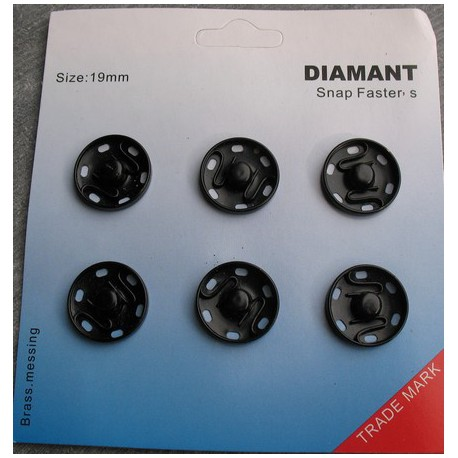 Bouton pression 19 mm noir nickel à coudre (vendu par 6)