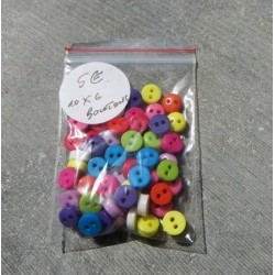 Lot 60 Boutons multicolores 6mm