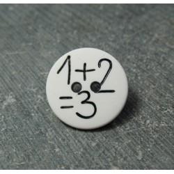 Bouton 1 plus 2 égal 3 blanc 15mm