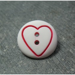 Bouton coeur fuschia base blanche 18 mm