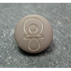 Bouton tétine beige 12 mm