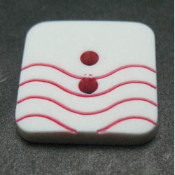Bouton vague blanc rouge 15 mm b41