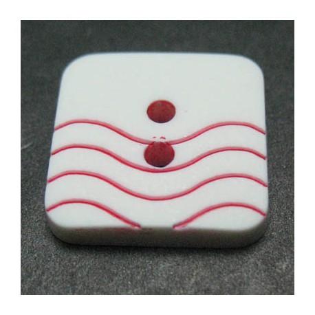 Bouton vague blanc rouge 15 mm b41