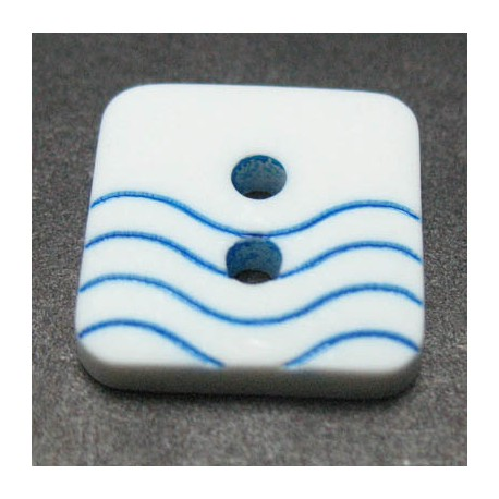 Bouton vague blanc bleu  12 mm b41