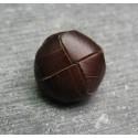 Bouton cuir marron fonçé 16 mm