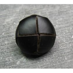 Bouton cuir ébéne 16 mm