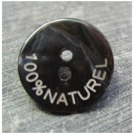 Bouton nacre noir 100 % naturel 18 mm