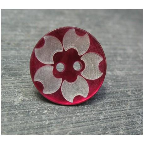 Bouton nacre fleur laser fuschia 18 mm