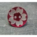 Bouton nacre fleur laser fuschia 18mm