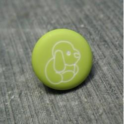 Bouton chien peluche vert pomme 13 mm