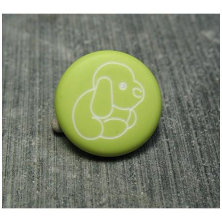 Bouton chien peluche vert pomme 15 mm