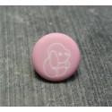 Bouton chien peluche rose 13 mm