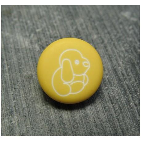 Bouton chien peluche jaune 13 mm