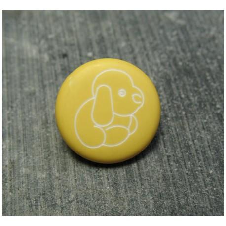 Bouton chien peluche jaune 15 mm